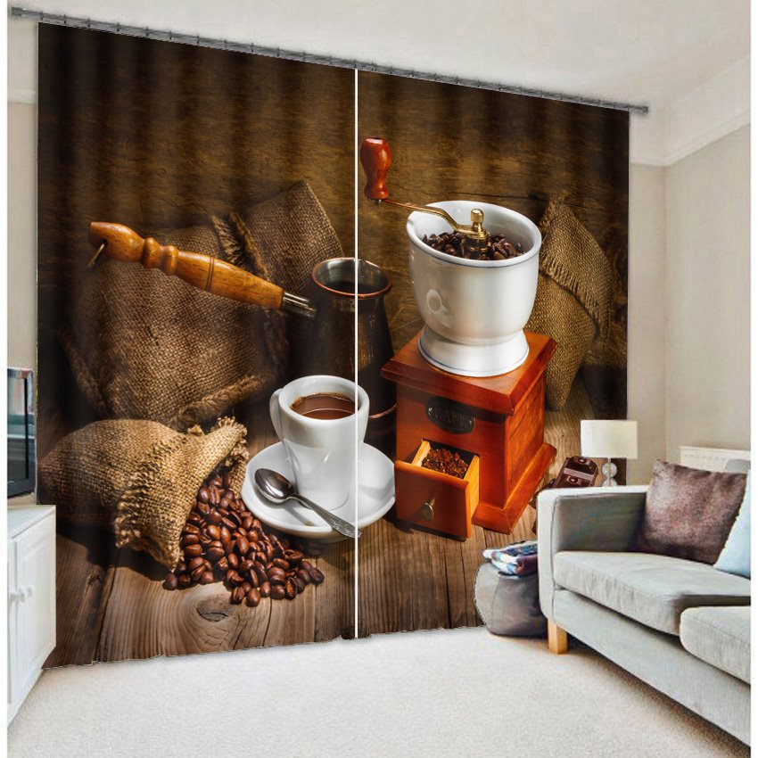 Casual Coffee Time 3D Printing Polyester Curtain