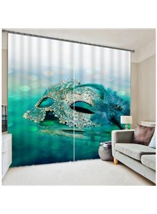 3D Mask Print Two Panels Polyester Curtain