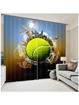3D Creative Design Energy Saving Two Panels Curtain