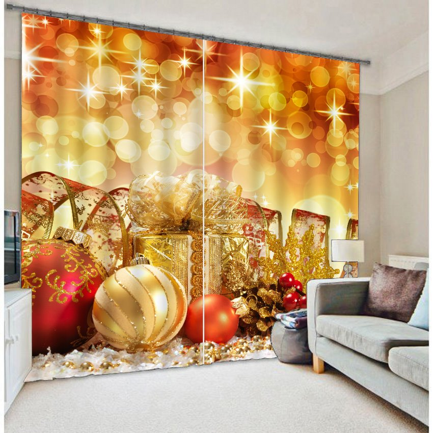 3D Golden Festival Ornaments Two Panels Polyester Curtain