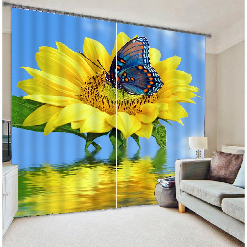 3D Big Sunflower Pretty Butterfly Polyester Curtain