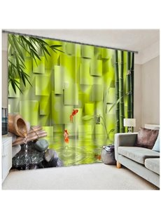 Green Nature Scenery Bamboo and Flowing Water Printing Polyester 3D Curtain