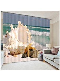 Seaside Starfish Printing Two Panels 3D Curtain