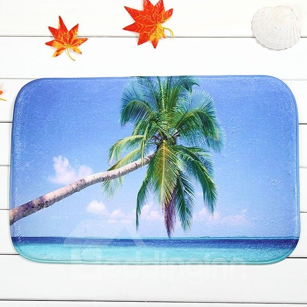 Wonderful Palm Tree At Sea Coral Velvet Anti-Slipping Doormat