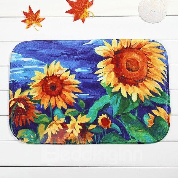 Creative Sunflower Painting Coral Velvet Anti-Slipping Doormat