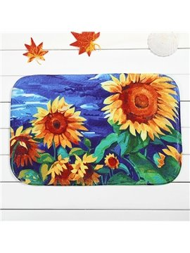 Creative Sunflower Painting Coral Velvet Anti-Slipping Doormat