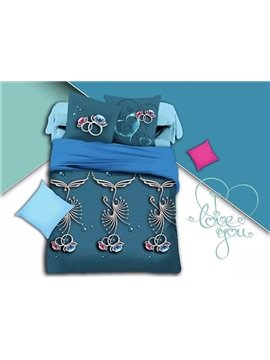 Diamond Ring Print Blue Polyester 4-Piece Duvet Cover Sets
