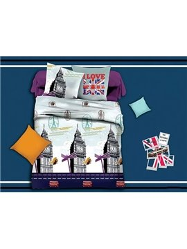 Fancy Big Ben Print Polyester 4-Piece Duvet Cover Sets