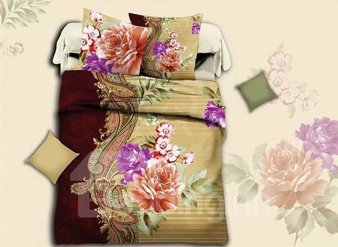 Peony Print Well-made Polyester 4-Piece Duvet Cover Sets