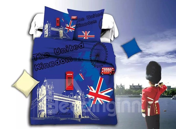 British Famous Landmark Print Blue 4-Piece Duvet Cover Sets
