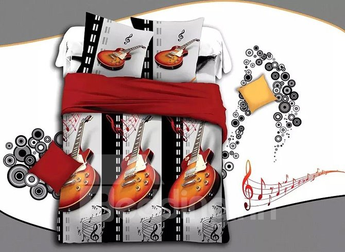 Creative Guitar Note Print Gray 4-Piece Duvet Cover Sets