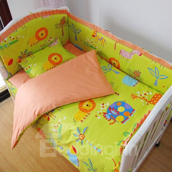 Animal Kingdom Baby Green Forest Theme Crib Bedding Set