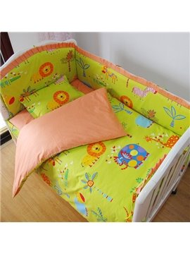 Animal Kingdom Baby Green Forest Theme Crib Bedding Set