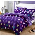 Warm Flanel Purple Polka Dots Pattern Kids Duvet Cover Set