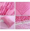 Love Forever Pink Leopard Heart Shape Pattern 3-Piece Duvet Cover Set