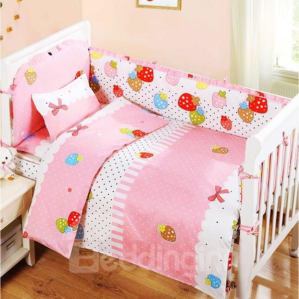 Lovely Colorful Strawberry and Bowknot Pattern Crib Bedding Set