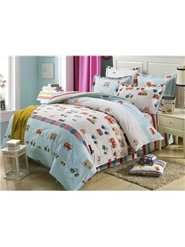 100% Cotton Cars Pattern Kids 3-Piece Duvet Cover Set