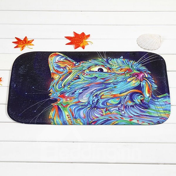 Creative Abstract Colorful Cat Coral Velvet Anti-Slipping Doormat
