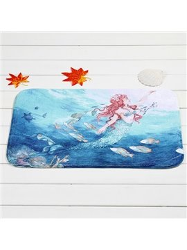 Wonderful Mermaid Pattern Coral Velvet Anti-Slipping Doormat