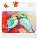 Painting Style Two Birds Coral Velvet Anti-Slipping Doormat