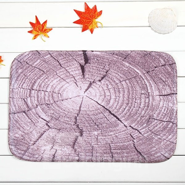 Creative Tree Stump with Growth Ring Coral Velvet Anti-Slipping Doormat