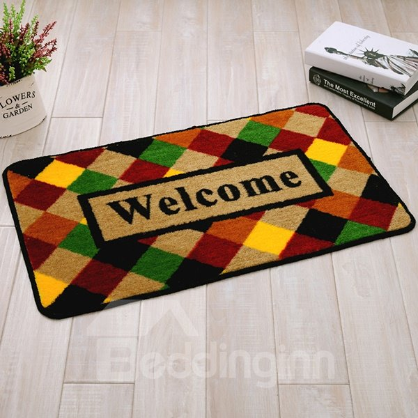Popular Welcome Mat and Checkered Background Anti-Slipping Doormat