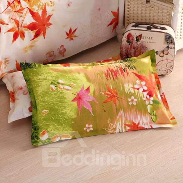 Graceful Maple Design Cotton 2-Piece Pillow Cases