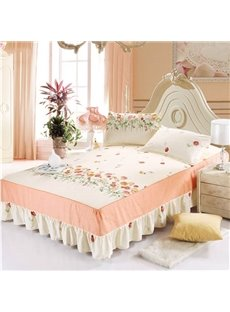 Refreshing Little Flowers Design Beige Bed Skirt with 2-Piece Pillow Cases