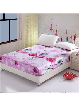Sweet Pink Flowers Design Soft Cotton Fitted Sheet