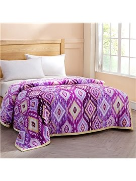 Cozy Geometric Figure Design Purple Flannel Blanket