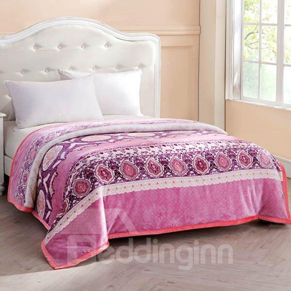 Fancy Jacquard Design European Style Pink Blanket