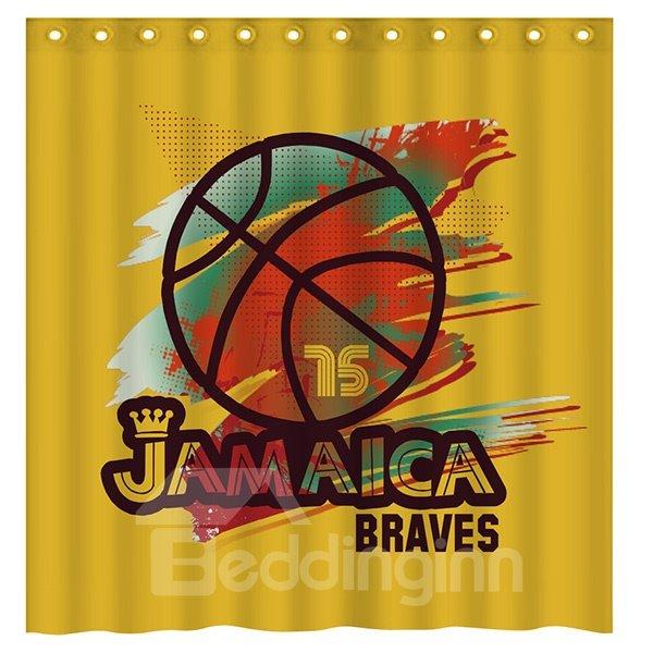 Fashion Basketball Pattern Yellow 3D Shower Curtain