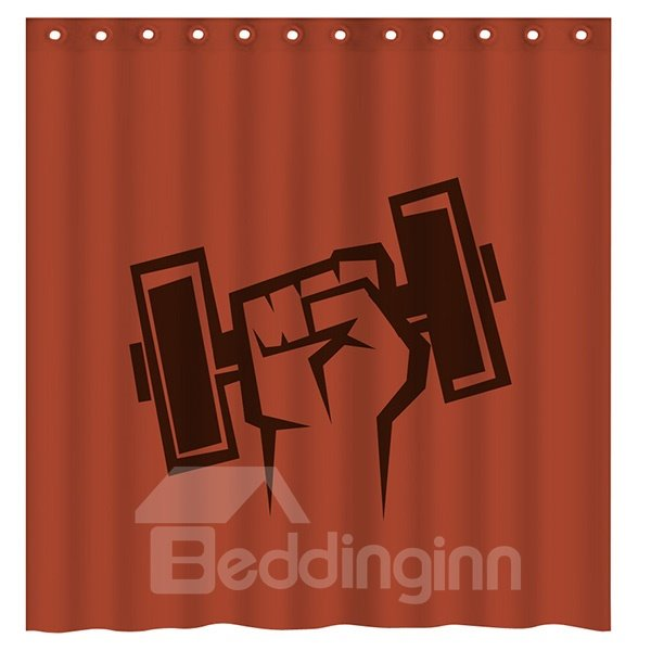 Creative Concise Weightlifting Print Brick Red 3D Shower Curtain