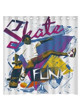 Unique Design Doodle Skating Boy 3D Shower Curtain