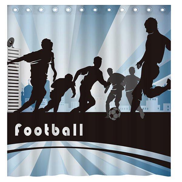 Modern Sports Cool Boys Playing Football 3D Shower Curtain