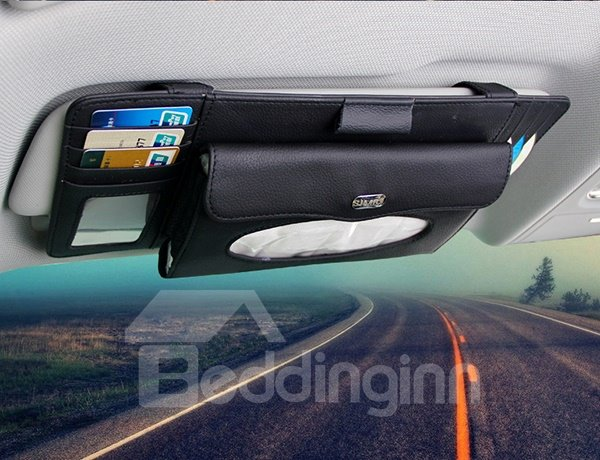 Practical Leather Material Multifunctional Organizer for Car Sun Shades