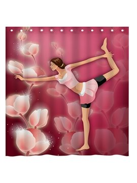 Fantasy Graceful Yoga Girl and Flower 3D Shower Curtain