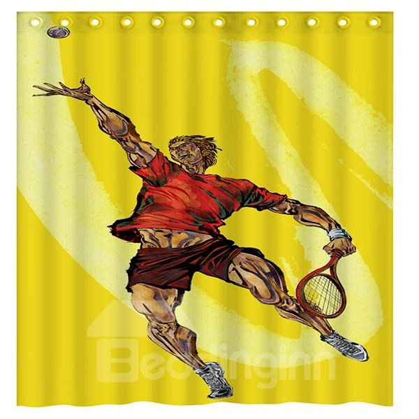 Creative Sports Style Playing Tennis Man Yellow 3D Shower Curtain
