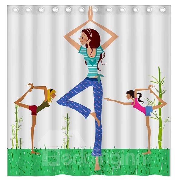 Fashion Concise Beautiful Yoga Girls 3D Shower Curtain