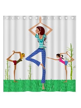 Fashion Concise Beautiful Yoga Girls 3D Shower Curtain