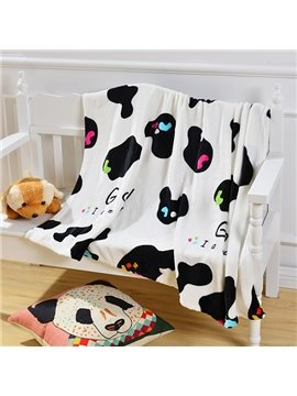 Lovely Black and White Cows Pattern Baby Blanket