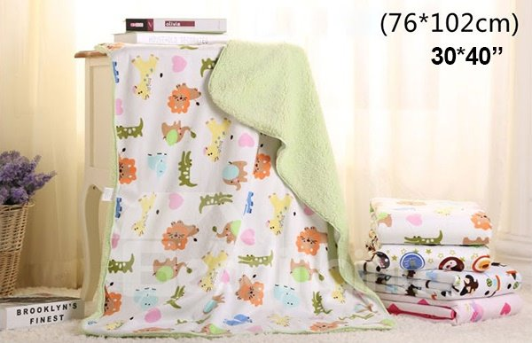 High Quality Green Zoo Animals Print Baby Blanket