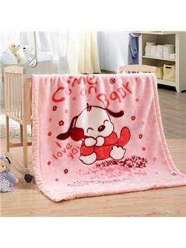 Lovely Dog Print warm Flannel Baby Blanket