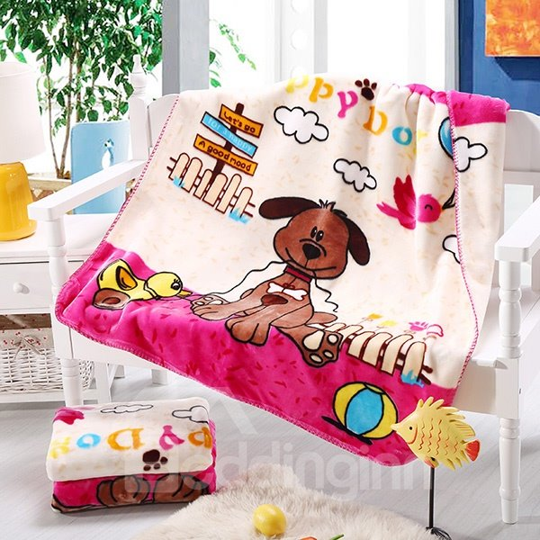High Quality Warm Flannel Dog Print Baby Blanket