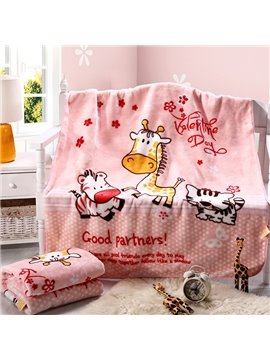 Pink Flannel Giraffe and Zebra Print Baby Blanket