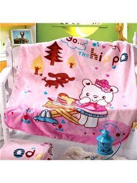 Lovely Bear Print Warm Flannel Baby Blanket