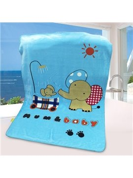 Super Cute Sky Blue Elephant Print Baby Blanket