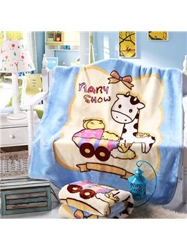 Baby Show Lovely Giraffe Print Flannel Baby Blanket