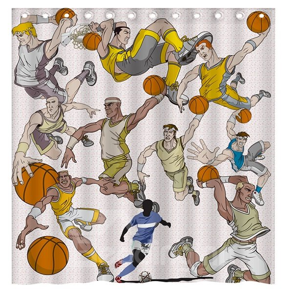 Sports Style Vigorous Playing Basketball Men 3D Shower Curtain