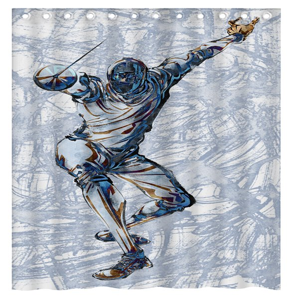 Creative Design Fencing Man 3D Shower Curtain